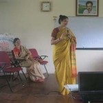 Mrs. Hegde addressed the students. Also seen is Mrs. Soumyalatha Shetty, Trustee, OIOP Foundation