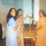 Ms. Anuradha Dhareshwar, Editor, OIOP, Mrs. Sucharita R. Hegde, Trustee and Managing Editor, OIOP, and Principal Rev. Sister Dollyrose D'Souza lit the lamp