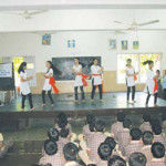 Students present a cultural programme on the occasion