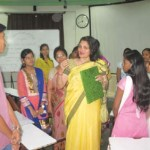 Mrs. Hegde interacting with the students