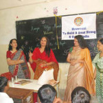 Anuradha Dhareshwar, Editor, OIOP, Mrs.  Hegde and Ms Aruna Gandhi look on as Mrs. Sampat speaks to the students