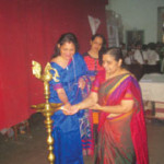 Mrs . Sucharita R. Hegde, Principal  Mrs. Sarojini Rao and Ms.Dhareshwar inaugurated the event by lighting the lamp