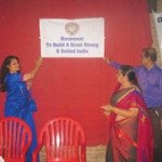 Mrs. Hegde, Mrs. Rao and Co-ordinator Mr. R. Kuckian unveiled the OIOP club banner