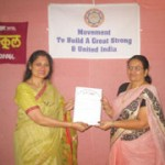 Mrs. Hegde presented the OIOP Club membership certificate to the Principal Mrs. Patil
