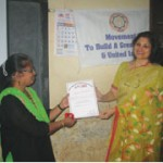 Mrs.Hegde presented the OIOP Club membership certificate to the Principal  Mrs. Sudha S. Surve