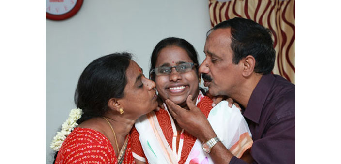 Beno Zephine with her parents, Mary Padmaja and Luke Charles	 (Photo courtesy: Sreeram Selvaraj)