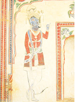 A figurative painting of Lord Krishna as a rustic gowla or cowherd. Although the lines have faded, the colours are bright