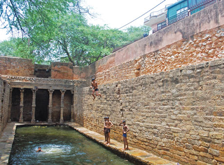 The sulphur step well called Gandhak ki baoli, also referred to as the 'jumping well'