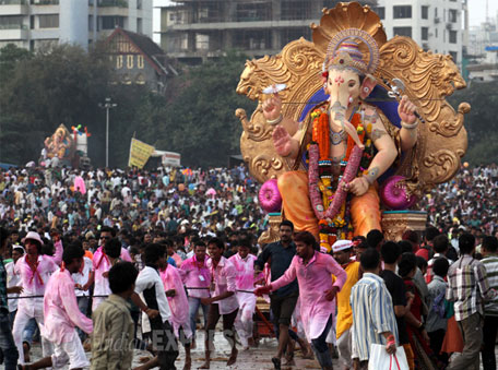 Visarjan at Girgaum Chowpatty at the conclusion of the Ganesh Chaturthi festival