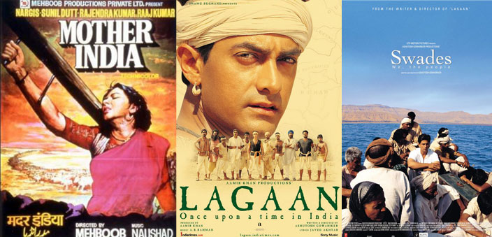 Posters of films Mother India, Lagaan and Swades; they depicted various facets of rural India