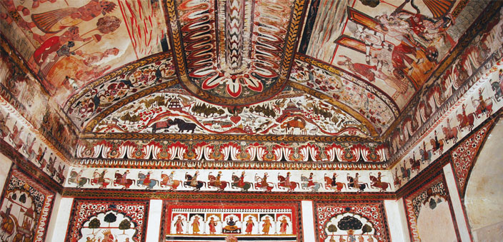 The beautiful murals inside Raj Mahal