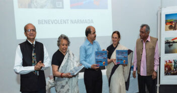 The book release function of Benevolent Narmada: (From left) Vithal C. Nadkarni, Asha Sheth, Sabyasachi Mukerjee, Director-General, CSMVS, Pheroza Godrej of Museum Society of Bombay and Hari Mahidhar