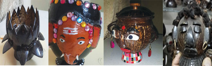 Creative and innovative handicrafts made out of coconut shells
