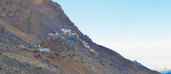 Key monastery, the largest in Spiti valley has a spectacular setting overlooking the Spiti River