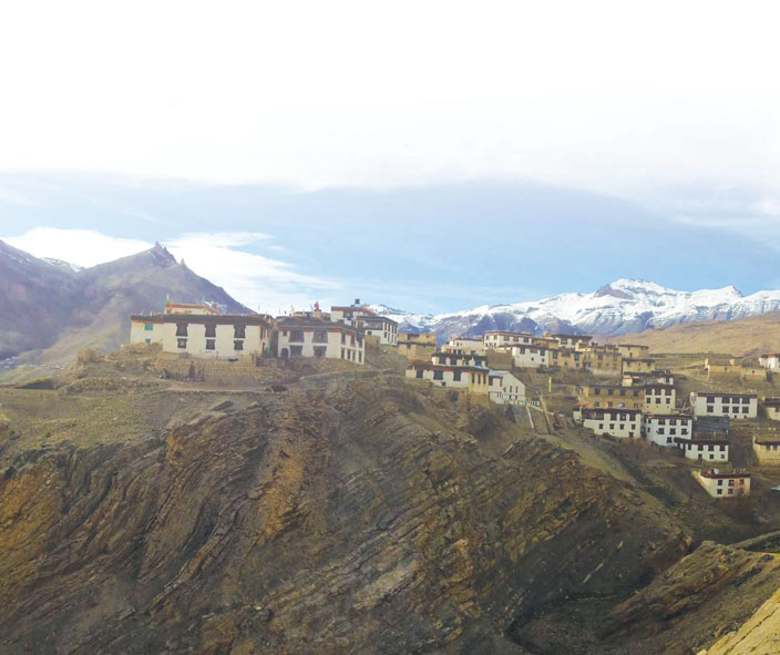 Kibber village, the second highest motorable village in the world at 14,200 ft built on a summit of limestone rock