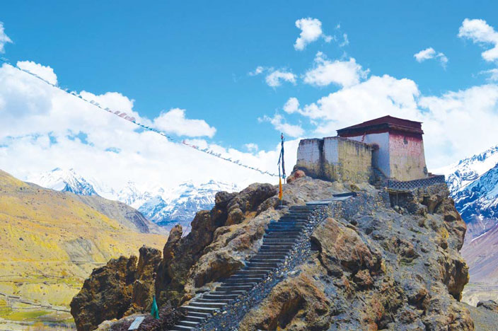 The climb to Dhankar monastery