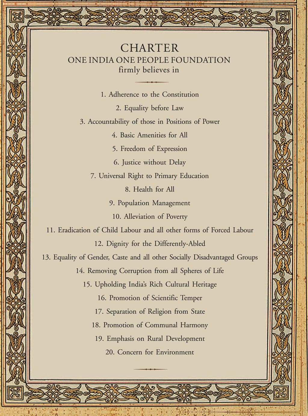 Charter - One India One People Foundation