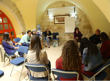 A workshop by Miki at the West Bank, 2015
