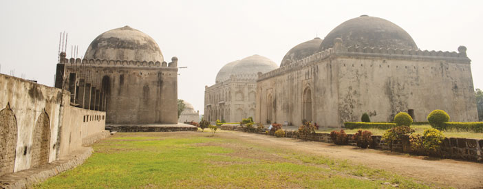 The Hafta Gumbad or Seven Tombs, where the Bahamanis are buried