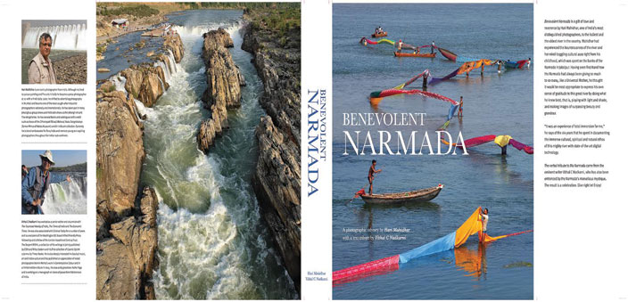Benevolent Narmada traces the course of the river from source to sea: (Top) the book cover (back and front)
