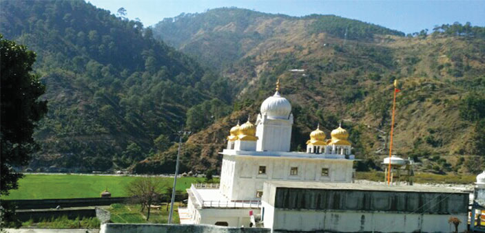 The gurudwara in its sylvan surroundings