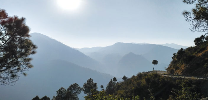 A last, lingering view of the mountains of Champawat