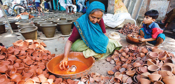 In Kumbharwada, Mumbai, where migrants from neighbouring Gujarat state make earthen pots and lamps