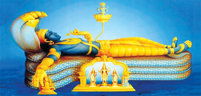 The idol of Sri Ananta Padmanabha Swamy Temple at Trivandrum; the reclining lord